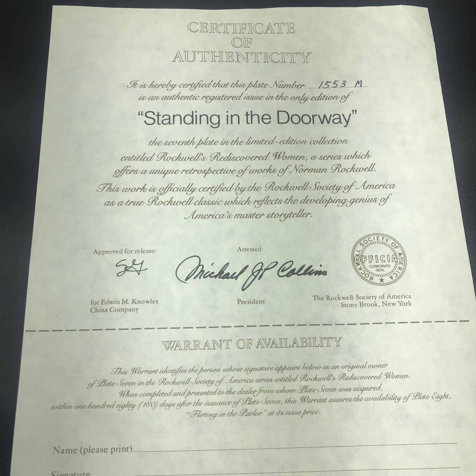 Vtg Knowles Rockwell's Rediscovered Women Standing in the Doorway Plate COA '83