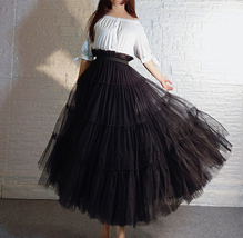 BLACK Tiered Long Tulle Skirt Outfit High Waist Plus Size Princess Party Outfit image 2