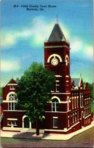 Vtg Linen Postcard Marietta Georgia - Cobb County Court House - UNP Curt... - $27.95