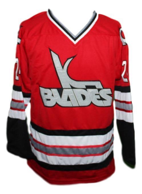 Kansas city blades retro hockey jersey red   1