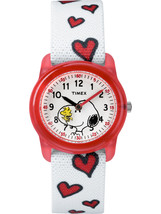 Timex Girls Time Machines x Peanuts: Snoopy & Hearts Watch, Elastic Fabr... - $27.81