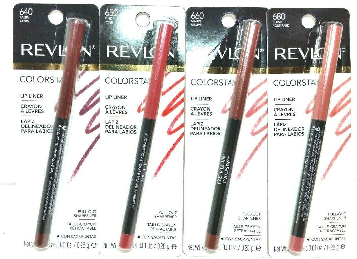 **Lot of 4** Revlon Colorstay Lipliner Shades: 640, 650, 660 & 680 w/ Sharpener  - $18.04