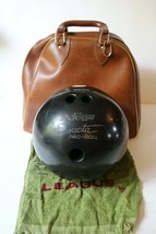 Vintage AMF Exacta Pro-Roll Bowling Ball 15 lbs 2 oz with brown carrying... - $82.23
