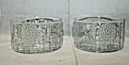 Iittala Nuutajarvi Finland Flora 2 Glass Bowl Set Clear Oiva Toikka 11cm... - $64.26