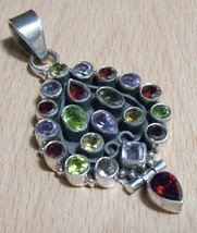 925 / 800 Silver Garnet Multigem Pendant 2 3/8 - $153.61