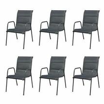 vidaXL 6x Outdoor Dining Chairs Stackable Metal Black Garden Patio Dinne... - $199.99