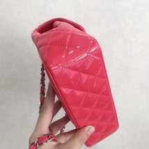 AUTH NEW Chanel RARE PINK Quilted PATENT LEATHER Large Mini 20CM Flap Bag SHW image 4