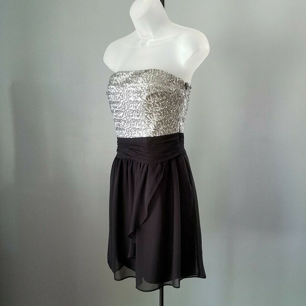 Express Silver & Black Sequin Strapless Cocktail Dress Size 6 image 4