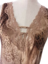 Vintage Brown Satin Animal Print Chemise Pajama Dress Expressions Size Medium image 4