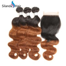 "Silanda Hair Body Weave 44#1B/30 Human Hair Weft With 4""X4"" Lace Closure  - $127.90+"