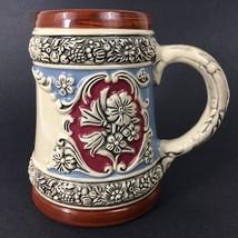 GerZ German Beer Stein Pint Germany Mug VTG Brown Burgundy Blue 16 Ounces - $16.10