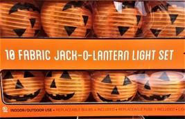NEW MIDWOOD BRANDS 10 FABRIC JACK-O-LANTERN LIGHT SET W/ORIGINAL BOX - $15.16