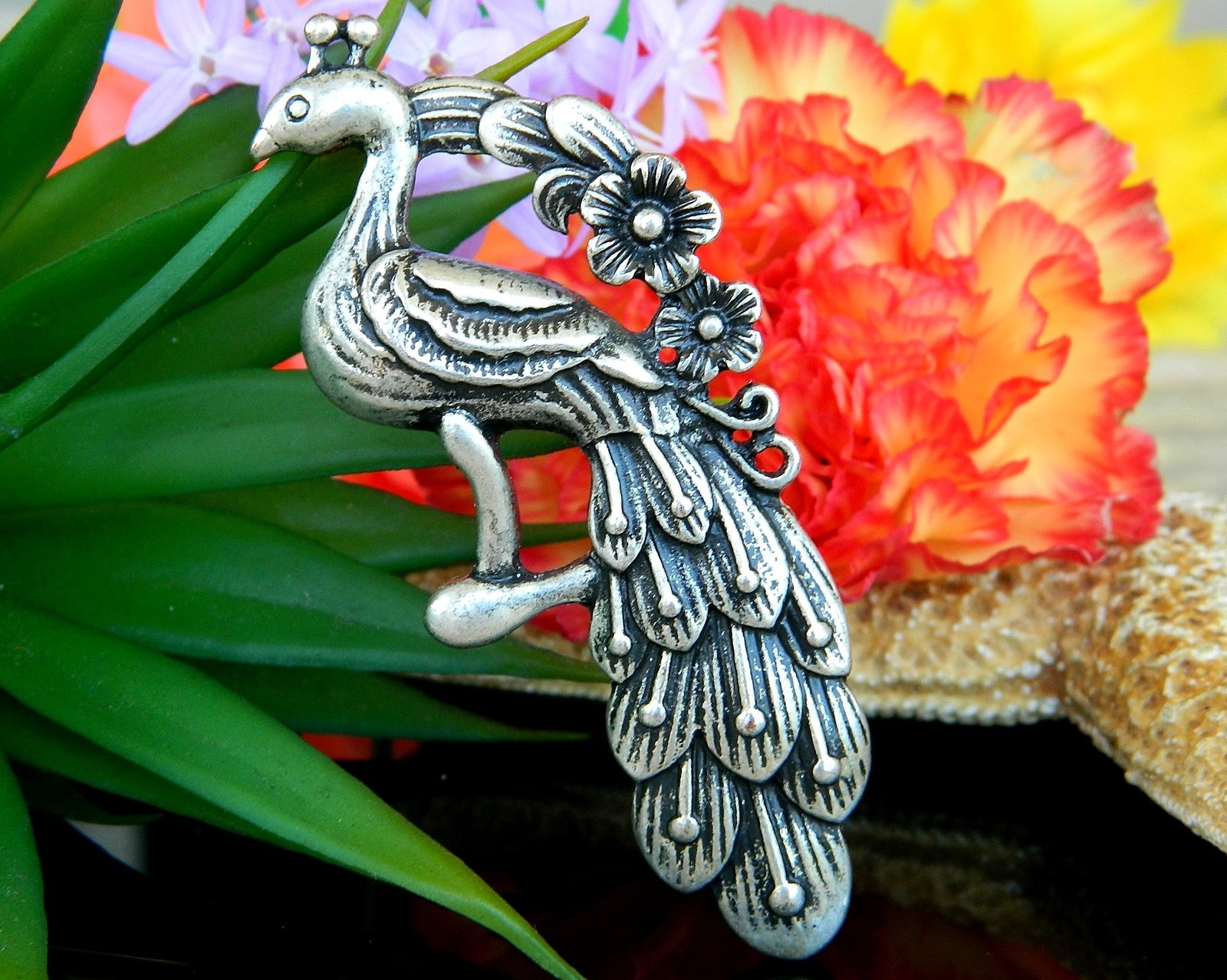 Vintage Peacock Bird Large Pewter Pendant Floral Flowers Silver Tone