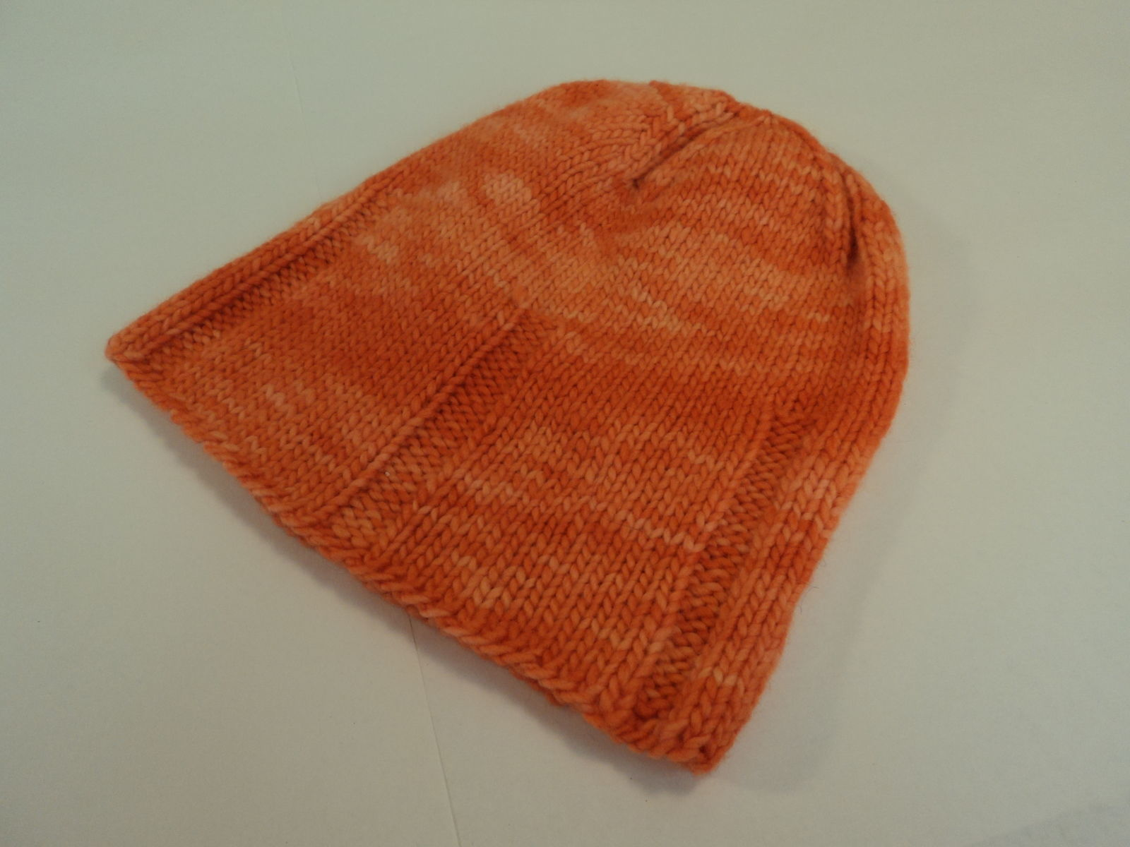 Handcrafted Slouchy Hat Orange 100% Fine Merino Wool Female Adult