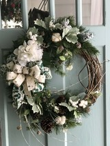 Beautifully Elegant White Hydrangea with Bow Pine Wreath for Door or Wal... - $64.35
