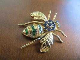 Vintage 1960's Gold Plated 925 Sterling Blue/Green Stones BombleBee Brooch - $29.99