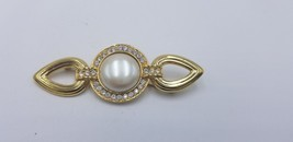 Vintage Signed Monet Gold Tone Link Pin / Brooch W/ Pearl & Rhinestones EUC - $19.32