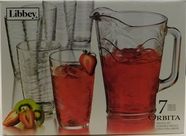 Libbey 7 Piece Orbita Glass Serving Set 55651 Pitcher 6 Cooler Tumblers - $54.45