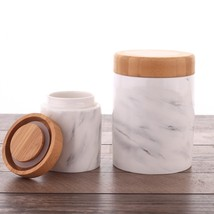 1Pc Marbling Ceramic Jar With Bamboo Cover Airtight Food Container Canister