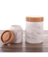 1Pc Marbling Ceramic Jar With Bamboo Cover Airtight Food Container Canister - $9.99+