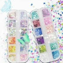 24 Colors/Set 3D Butterfly Nail Art Sequins Sparkle Nail Art DIY Decoration - $7.66