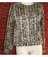 NICOLA Vintage 80s artsy animal polyester blouse 14 w/DEFECT (T42-02I8G) - $9.88