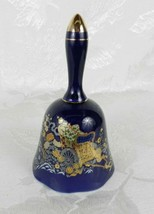 "Vintage Porcelain Bell ~ Blue with Gilt Accents ~ Chinese Cart ~ 5.5"" - $15.83"