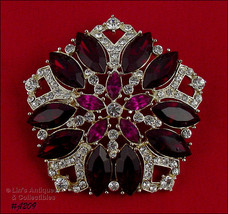 Signed Eisenberg Ice Five Sided Pin Red Clear and Fuchsia Rhinestones (#... - $105.05 CAD