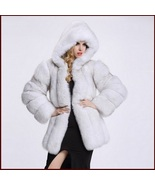 Long Full Pelt Hooded Snow White Fox Faux Fur with Long Sleeves Luxury ... - $339.95