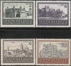 1943 Medieval Architecture Set of 4 Poland Stamps Catalog Number N100-03 MNH