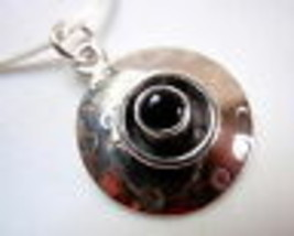 Black Onyx Hammered Silver Border 925 Sterling Silver Pendant New - $9.89