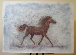 Painting Modern A Technical Mixed oil Watercolour With Horse For Running... - $196.35