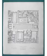 ARCHITECTURE (2) PRINTS 1850 - ITALY Pompeii Forum Plan & View of Remains - $21.60