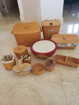 LONGABERGER LOT OF 9 BASKETS ALL DIFFERENT SIZES EXCELLENT CONDITION SEE... - $359.99