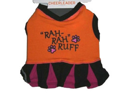 "Cheerleader Dog Costume Halloween Orange Black Pink ""Rah Rah Ruff"" MEDIUM - $7.99"