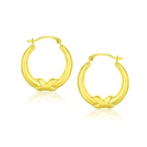 10k Yellow Gold Round Shape Hoop Earrings Womens Unique Fashion Accessories - $61.38