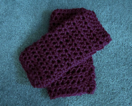 Crocheted Wristers,  Fingerless Gloves, Purple Wristers, Womens Accessories - $10.00