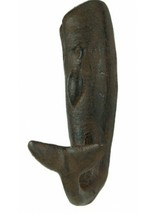 Coastal Whale Tail Cast Iron Antiqued Rust 6 Inch Single Wall Hook - $29.76