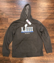 New 2019 Super Bowl 53 Champions Liii Hoodie Sweat Shirt Nfl Gray Size Large - $39.59