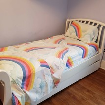 Vintage Rainbow Perma Prest Twin Sheet Set Fitted Flat Standard Pillow Case - $59.99