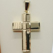 Yellow Gold Cross Pendant 750 18k, Square, finely worked, Italy Made image 3