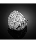 925 Sterling Silver Men's Celtic Cross Ring with Trinity Band (Made in USA) - $59.99