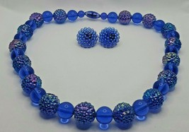 "Fashion Jewelry Iridescent Blue Beaded 18-1/2"" Necklace & Pierced Earrin... - $16.14"