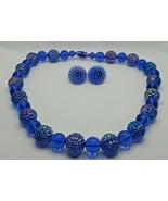 "Fashion Jewelry Iridescent Blue Beaded 18-1/2"" Necklace & Pierced Earrin... - $16.14"