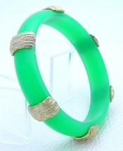 VTG Gold Tone Accented Green Lucite Plastic Bangle Bracelet - $29.70