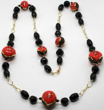 Necklace Yellow Gold 18K with Onyx & Ceramics Hand Painted Made in Italy - $1,430.02