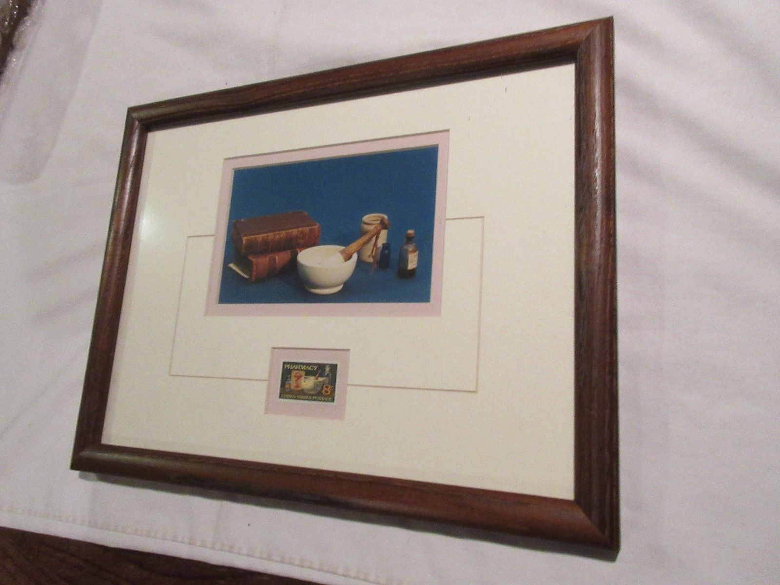 """Rx , Pharmacy , U.S.Postage Stamp , Wall Hang Picture , 13"""" X 10"""" X1"""""""