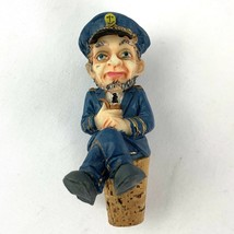 Vintage Carved Bottle Cork Stopper Wine Resin Navy Ship Captain Mariner ... - $21.77