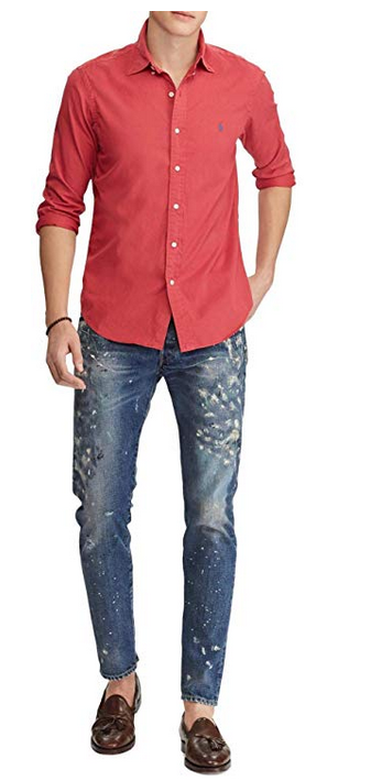 Polo Ralph Lauren Men's Classic Fit Garment Dyed Oxford Shirt, Size XL, Red, $89
