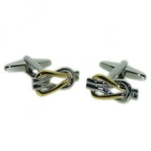 gold and silver reef knot cufflinks, cuff links in gift box knotted design